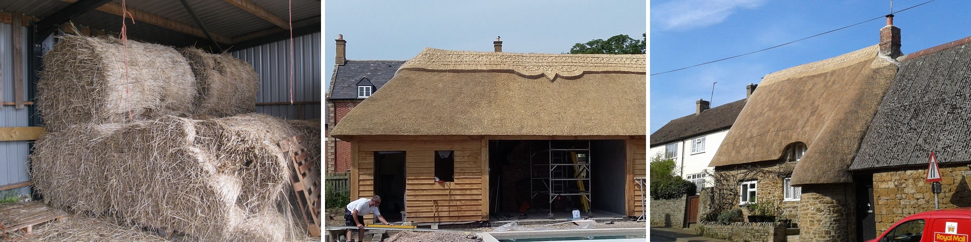 Before, during and after examples of Jem Raison's thatch craft in Warwickshire
