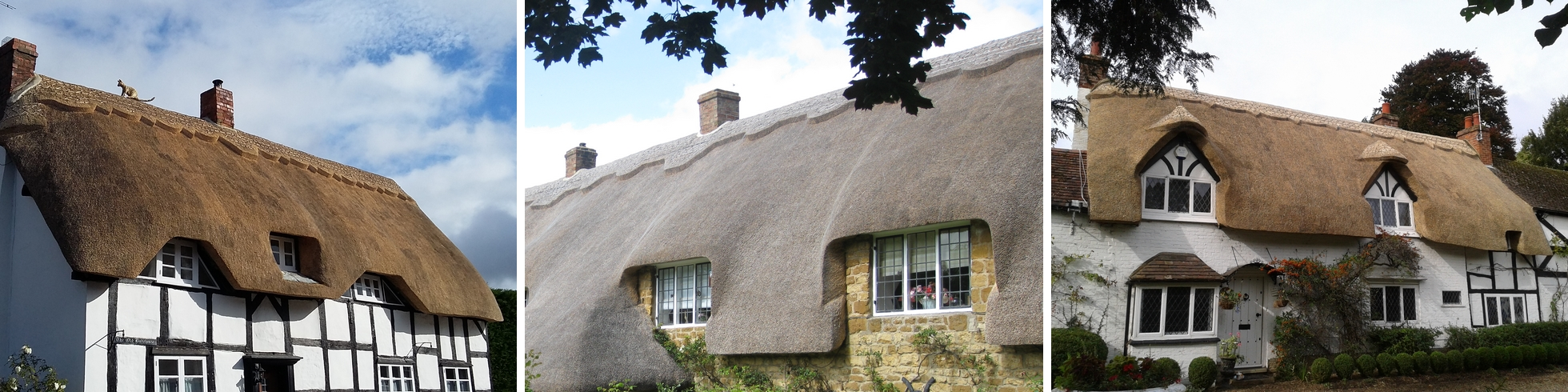 Examples of Jem Raison's thatch craft in The Cotswolds